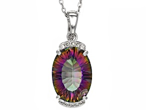 Multi Color Mystic Quartz® Rhodium Over Sterling Silver Enhancer With Chain 10.34ctw