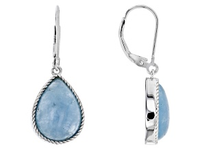 Blue Aquamarine Silver Earrings