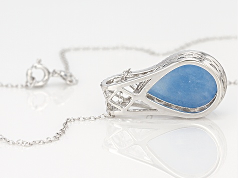 Blue Dreamy Aquamarine rhodium over sterling silver pendant with chain