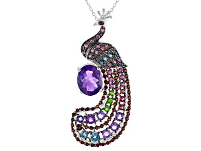 Purple Amethyst Sterling Silver Peacock Slide With Chain 5.48ctw