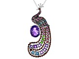 Purple Amethyst Rhodium Over Sterling Silver Peacock Slide With Chain 5.48ctw