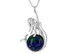 Multicolor Azurmalachite Silver Mermaid Pendant With Chain