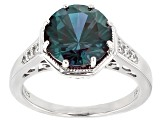 Blue Lab Created Alexandrite Sterling Silver Ring 3.84ctw