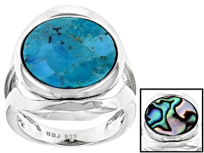 Blue/Multi Color turquoise/Abalone Shell Rhodium Over Sterling Silver reversible ring