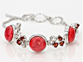 Red Coral Sterling Silver Bracelet 2.39ctw