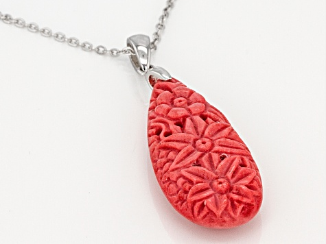 Red Coral Sterling Silver Pendant With Chain