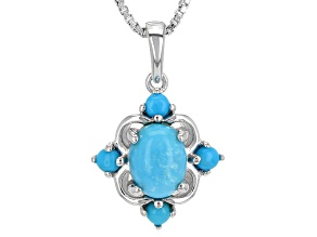 Blue Sleeping Beauty Turquoise Silver Pendant With Chain