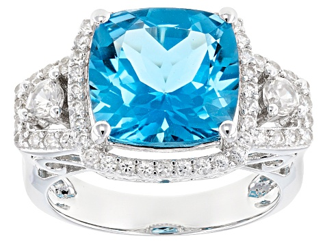 Blue Swiss Blue Topaz Silver Ring 6.19ctw