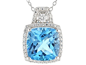 Blue Swiss Blue Topaz Silver Pendant With Chain 6.18ctw