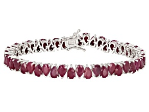 Red Indian Ruby Rhodium Over Sterling Silver Bracelet 26.35ctw