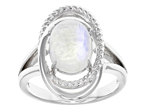 White Rainbow Moonstone Silver Ring