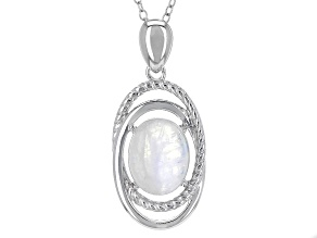 White Rainbow Moonstone Silver Pendant With Chain