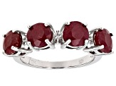 Red Ruby Silver Ring 4.97ctw