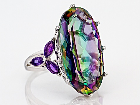 Multicolor Quartz Silver Ring 12.34ctw