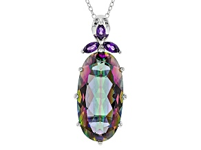 Multicolor Quartz Silver Pendant With Chain 12.06ctw