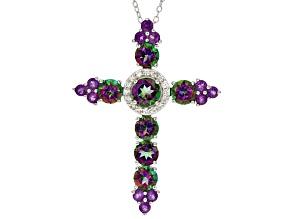 Multicolor Mystic Topaz® Rhodium Over Silver Cross Slide With Chain 5.03ctw