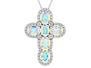 Multi-color Mercury Mist® Mystic Topaz® Silver Cross Pendant With Chain 6.02ctw