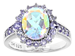 Mercury Mist® Mystic Topaz® and Tanzanite Rhodium Over Sterling Silver Ring 3.61ctw