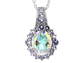 Multicolor Mercury Mist (R) Mystic Topaz® Silver Pendant With Chain 3.49ctw
