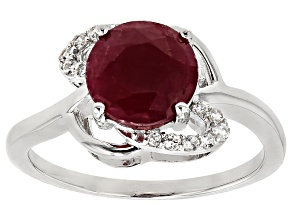 Red Ruby Silver Ring 2.54ctw