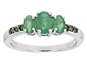 Green Emerald Silver Ring .81ctw