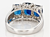 London Blue Topaz Rhodium Over Sterling Silver Ring 3.40ctw