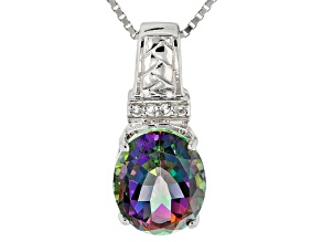Multicolor Mystic Topaz® Sterling Silver Pendant With Chain 3.88ctw