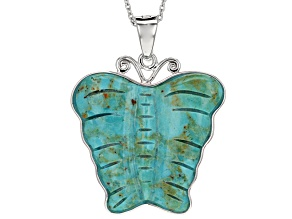 Blue Turquoise Butterfly Sterling Silver Enhancer With Chain