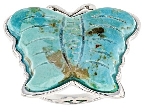 Blue Turquoise Butterfly Sterling Silver Ring