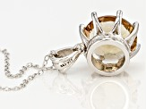 Brown Champagne Quartz Sterling Silver Pendant With Chain 4.77ctw