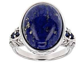 Blue Lapis Lazuli Silver Ring .12ctw