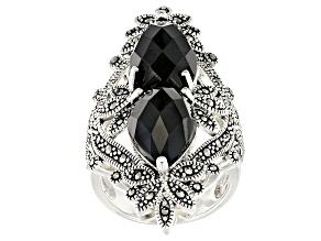 Black Spinel Sterling Silver Ring 12.92ctw
