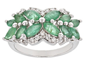 Green Zambian Emerald Sterling Silver Ring 2.09ctw