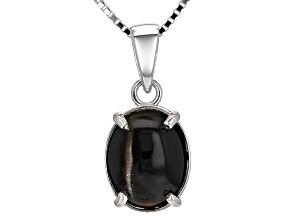 Black Cat's Eye Sillimanite Sterling Silver Pendant With Chain