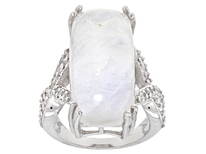 White Moonstone Sterling Silver Ring .54ctw