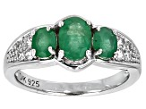 Green Emerald Silver Ring 1.41ctw