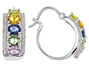 Multi Colors of Sapphire Sterling Silver Hoop Earrings 4.50ctw