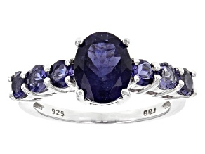 Purple Iolite Sterling Silver Ring 1.91ctw
