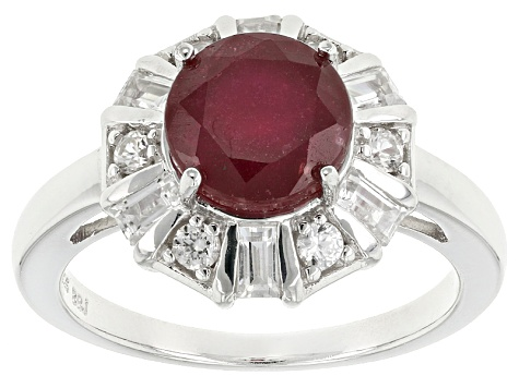 Red Ruby Silver Ring 3.04ctw