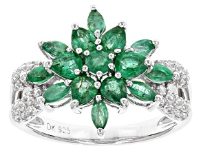 Green Emerald Silver Ring 1.78ctw