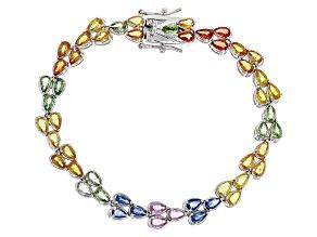 Mixed Color Sapphire Silver Bracelet 12.75ctw