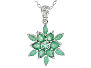 Green Emerald Silver Pendant With Chain 1.21ctw