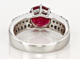 Red Ruby Silver Ring 3.03ctw