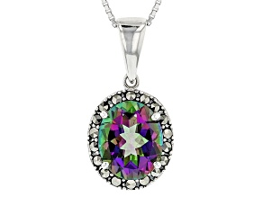 Green Mystic Topaz® Sterling Silver Pendant With Chain 3.85ct