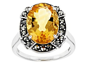 Yellow Citrine Sterling Silver Ring 4.25ct