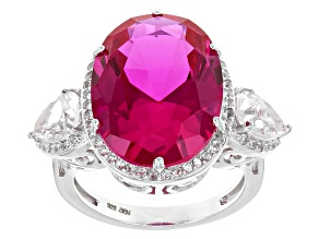 Pink Lab Created Sapphire Silver Ring 13.12ctw