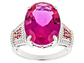 Pink Lab Created Sapphire Rhodium Over Sterling Silver Ring 10.31ctw