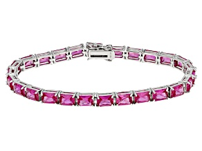 Pink Lab Created Sapphire Sterling Silver Bracelet 24.78ctw