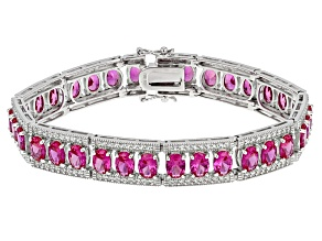 Pink Lab Created Sapphire Sterling Silver Bracelet 24.49ctw