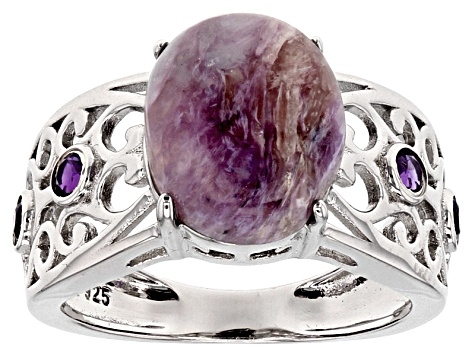 Purple Russian Charoite Sterling Silver Ring .20ctw